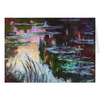 Wasser-Lilien, untergehende Sonne Claude Monet Mitteilungskarte
