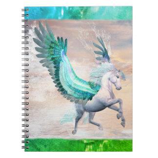 Wasser-Pegasus-Foto-Notizbuch (80 Seiten B&W) Spiral Notizblock
