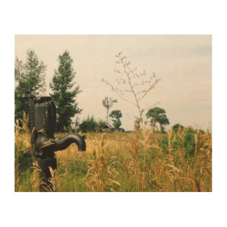 Wasser-Pumpe auf dem Bauernhof-Druck Holzleinwand