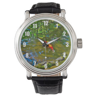 Wasser-Reflexionen und die Koi Fisch-Uhr Armbanduhr