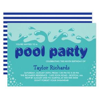 Wasser spritzt - Kindergeburtstag-Pool-Party Karte