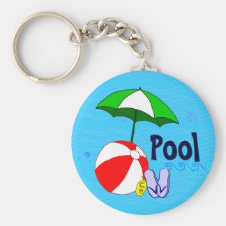 Wasserball-Pool-Regenschirm-Blau bewegt Schlüsselanhänger