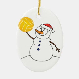 Wasserball-Schneemann-Verzierung Ovales Keramik Ornament