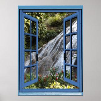Wasserfall-Foto Trompe - L ' oeil Fake-Fenster Poster