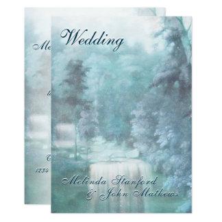 Wasserfall-Land der Hochzeits-Einladungs-  Karte
