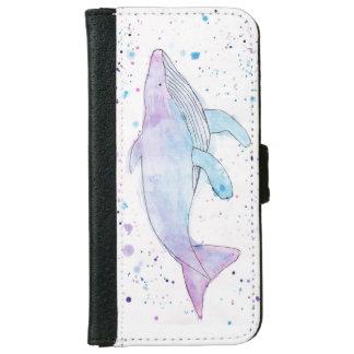 Wasserfarbe-Buckel-Wal iPhone Geldbörsen-Kasten Geldbeutel Hülle Für Das iPhone 6/6s