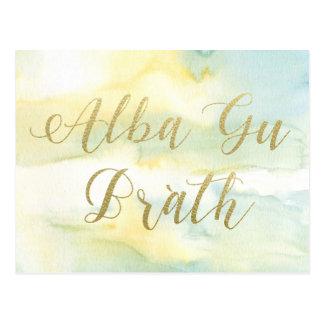 Wasserfarbe-Goldzitat-Postkarte GUs Brath alba Postkarte