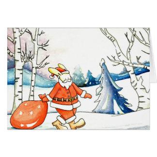 Wasserfarbe: Häschenweihnachtsmann-Weihnachtskarte Grußkarte