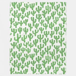 Wasserfarbe-Kaktus-Muster - Grün Fleecedecke