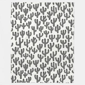 Wasserfarbe-Kaktus-Muster - Schwarzes Fleecedecke
