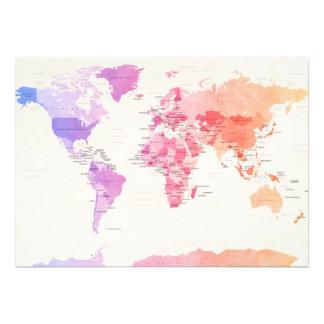 Wasserfarbe-politische Karte der Welt Personalisierte Einladungen