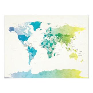 Wasserfarbe-politische Karte der Welt Fotografien