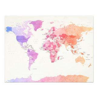 Wasserfarbe-politische Karte der Welt Kunstfoto