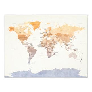Wasserfarbe-politische Karte der Welt Foto Druck