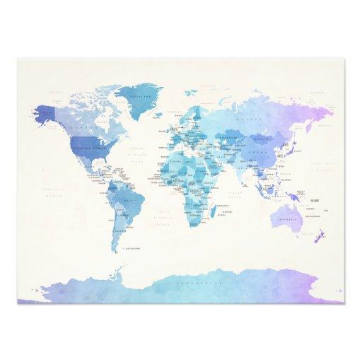 Wasserfarbe-politische Karte der Welt Fotografische Drucke