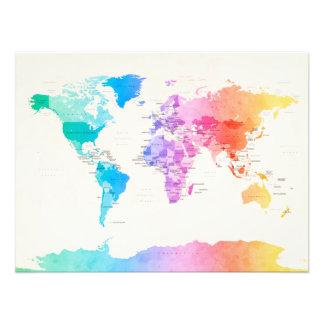 Wasserfarbe-politische Karte der Welt Kunstfotos