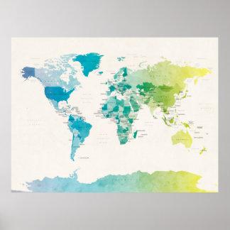 Wasserfarbe-politische Karte der Welt Poster