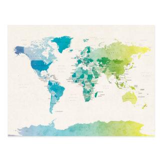 Wasserfarbe-politische Karte der Welt Postkarte
