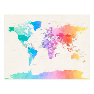 Wasserfarbe-politische Karte der Welt Postkarten