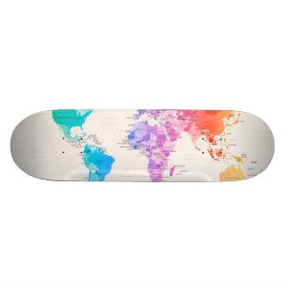 Wasserfarbe-politische Karte der Welt Skateboardbrett