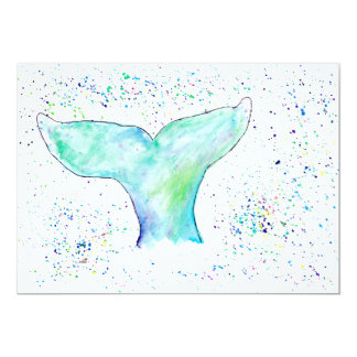 Wasserfarbe-Wal-Schwanz-Einladung 12,7 X 17,8 Cm Einladungskarte