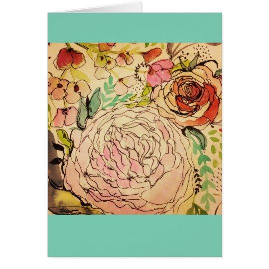 Wasserfarbeblüte 1 mitteilungskarte