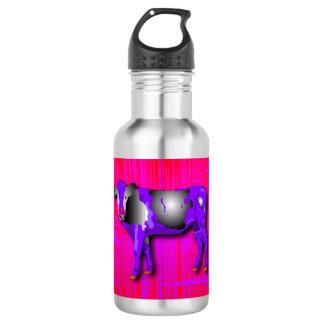 Wasserflasche mit einer lila Kuh des grafischen