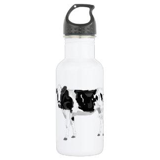 Wasserflasche mit Schwarzweiss-Kuhgraphik desi