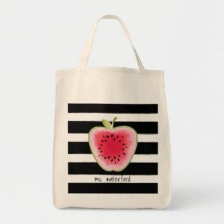 Wassermelone Apple Stripes personalisierten Lehrer Einkaufstasche