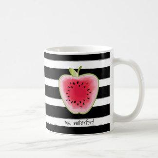 Wassermelone Apple Stripes personalisierten Lehrer Kaffeetasse