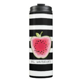 Wassermelone Apple Stripes personalisierten Lehrer Thermosbecher