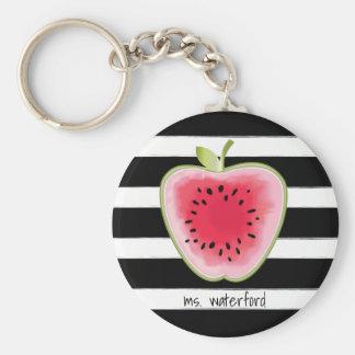 Wassermelone Apple StripesTeacher Standard Runder Schlüsselanhänger