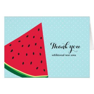 Wassermelone-danken blaue Spaß-Sommer-Frucht-Falte Karte