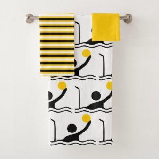 Wasserpolo-Spieler-Silhouetteschwarzes, gelbe Badhandtuch Set