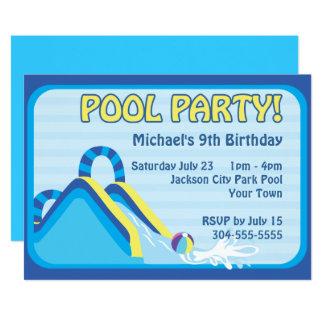 Wasserrutsche-Geburtstag Karte