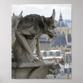 Wasserspeier gotischer Fotografie Notre Dame Paris Poster