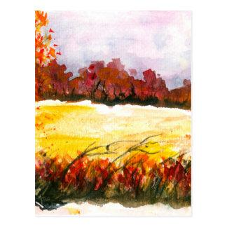 Watercolor-abstrakte Landschaftskunst-Herbst-Bäume Postkarte