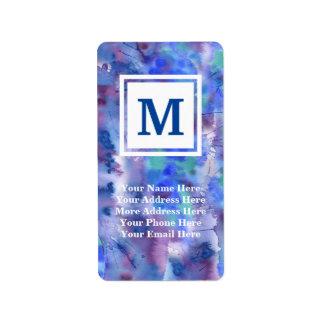 Watercolor-abstraktes handgemaltes blaues lila adress aufkleber