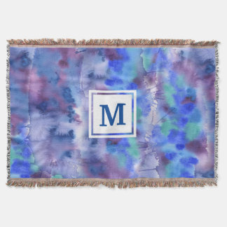 Watercolor-abstraktes handgemaltes blaues lila decke