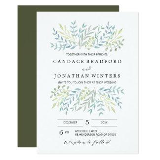 Watercolor-Blätter in den grünen Wedding Farben 12,7 X 17,8 Cm Einladungskarte