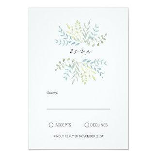 Watercolor-Blätter in den grünen Wedding Farben 8,9 X 12,7 Cm Einladungskarte