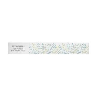 Watercolor-Blätter in den grünen Wedding Farben Rundum-Adressaufkleber