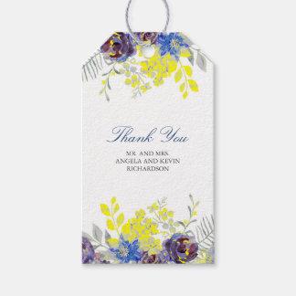 Watercolor-blaue gelbe Blumen Geschenkanhänger