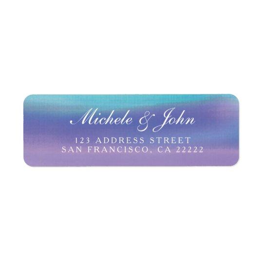Watercolor-blauer lila Rücksendeadressen-Aufkleber