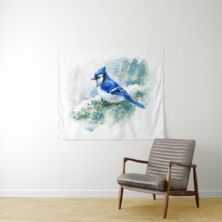 Watercolor-blaues Jay-mittlere Wand-Tapisserie Wandteppich