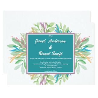 Watercolor-Blume 4 - Hochzeits-Einladung Karte