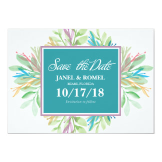 Watercolor-Blume 4 - Save the Date Karte