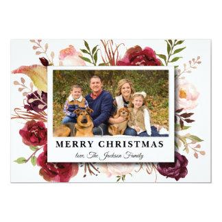 Watercolor-Blume Marsala Foto-Weihnachtskarte Karte