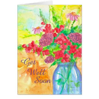 Watercolor-Blumen-Blumenstrauß erhalten gut bald Grußkarte