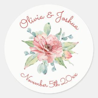Watercolor-Blumen-Entwurfs-Hochzeits-Aufkleber Runder Aufkleber